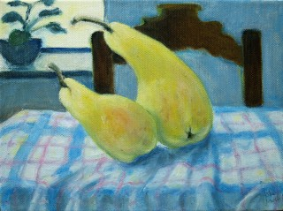 Pears on tea towel